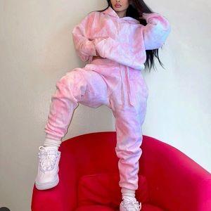 Pink tie dye hoodie/jogger set